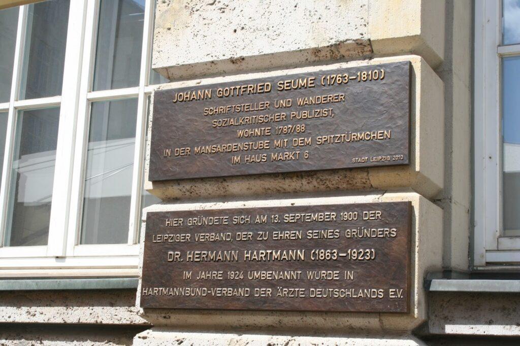 Gedenktafel an Johann Gottfried Seume am Haus Markt 6