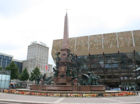 Meldebrunnen auf dem Leipziger Augustusplatz