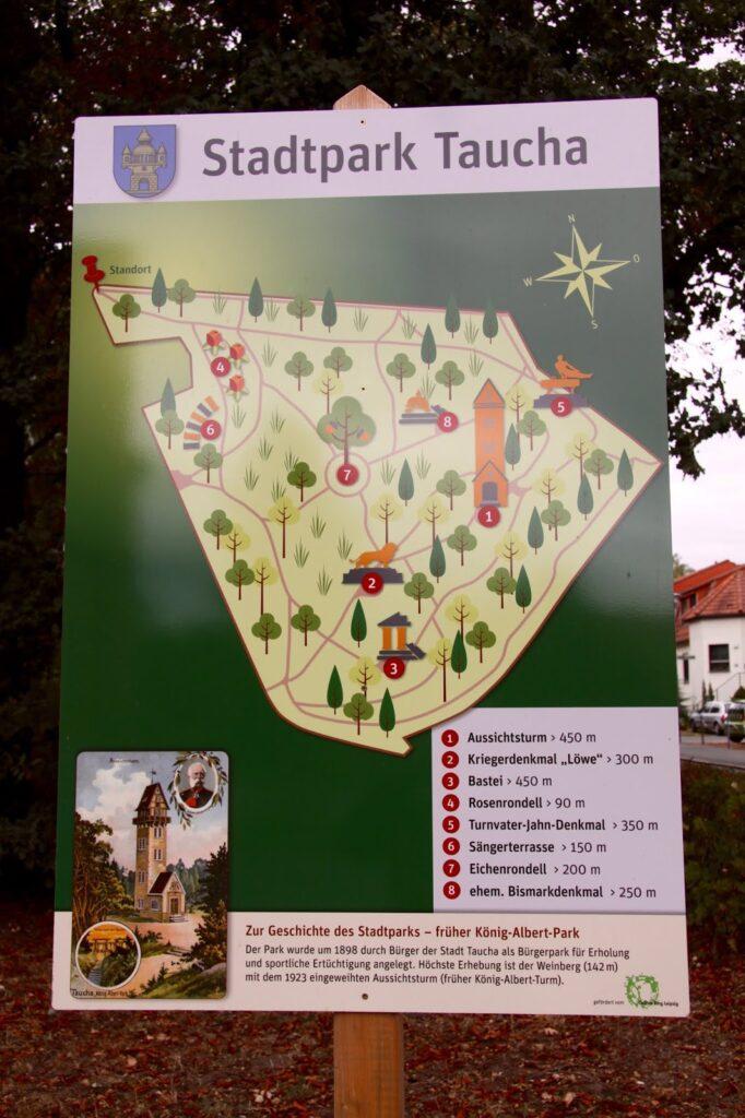 Eingangsschild zum Stadtpark Taucha