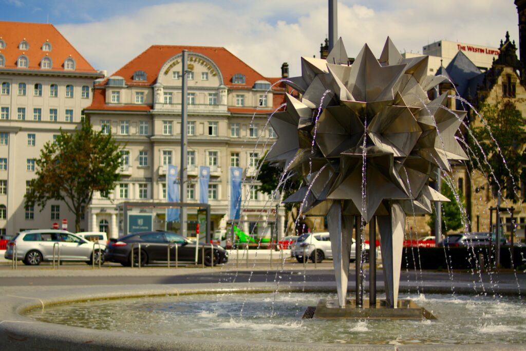 Pusteblumen-Brunnen am 2013 neu gestalteten Richard-Wagner -Platz
