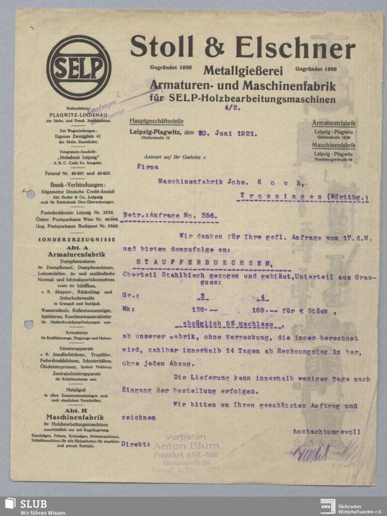 Stoll & Elschner Plagwitz Rechnung aus dem Jahr 1921