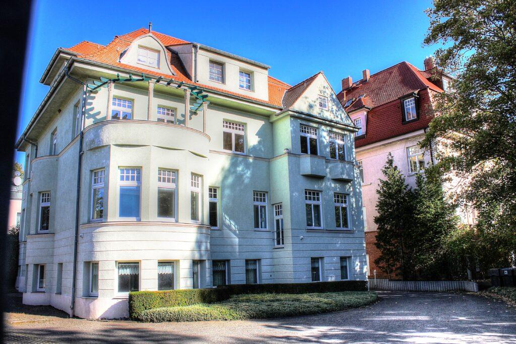 Rückansicht der 1917 erbauten Stadtvilla in Eilenburg