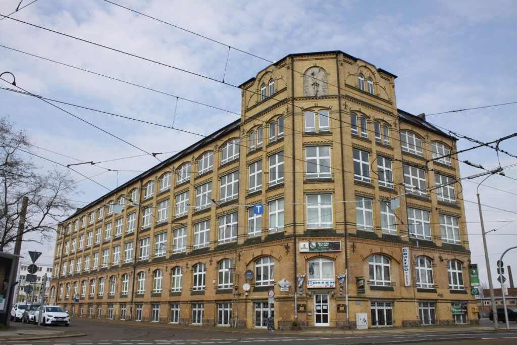 errichtet für die Fahrradfabrik der Lipsia-Fahrrad-Industrie-AG um 1900 an der Berlinder Strasse 69, später für die Herstellung von Tresore sowie Geldschränke genutzt